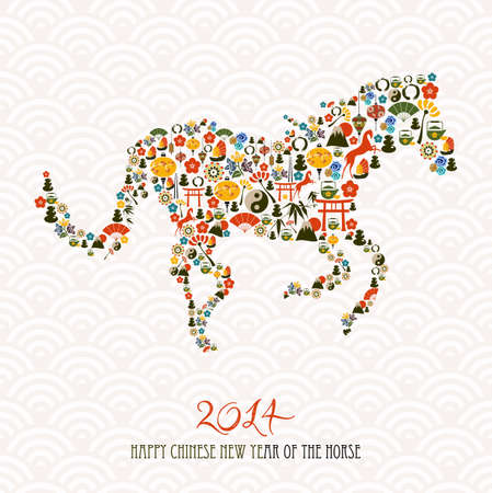 2014 Chinese New Year of the Horse eastern elements composition. Vector file organized in layers for easy editing. Vector