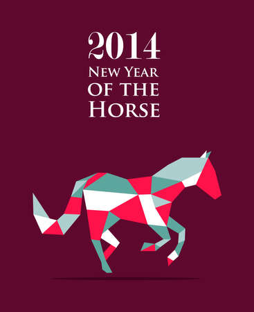 2014 Chinese New Year of the Horse triangle composition. Vector file organized in layers for easy editing. Stock Vector - 22951665