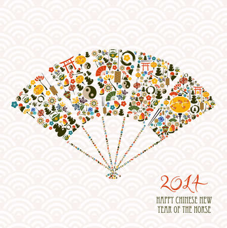 2014 Chinese New Year of the Horse fan shape eastern elements composition. Vector file organized in layers for easy editing.