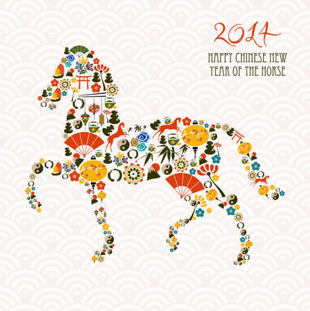 horse: 2014 Chinese New Year of the Horse eastern elements composition. Vector file organized in layers for easy editing.