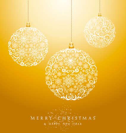 Luxe Vrolijk kerstfeest cirkel snuisterijen elementen en sneeuwvlokken achtergrond. EPS10 vector bestand georganiseerd in lagen voor eenvoudige bewerking. Stock Illustratie