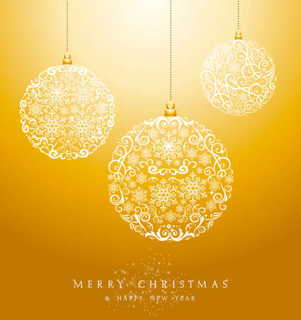 Luxury Merry Christmas circle baubles elements and snowflakes background. EPS10 vector file organized in layers for easy editing.