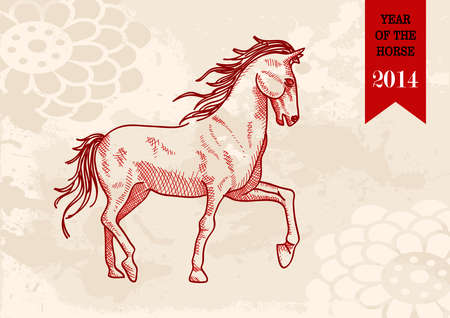 2014 Chinese New Year of the Horse sketch style illustration. Vector file organized in layers for easy editing. Vector