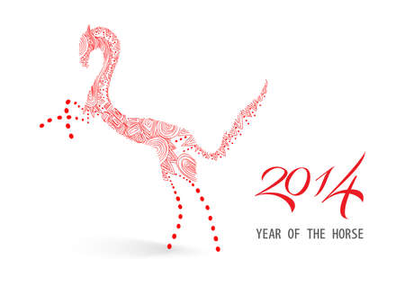 2014 Chinese New Year of the Horse: red hand drawn elements composition. Vector file organized in layers for easy editing. Stock Vector - 23101997