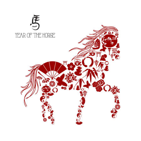 Asianl red icons composition: 2014 Chinese New Year of the Horse. Vector file organized in layers for easy editing. Stock Vector - 23101996