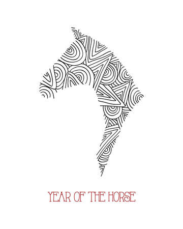 Chinese New Year of the Horse 2014, hand drawn animal composition background. Vector file organized in layers for easy editing. Stock Vector - 23101995