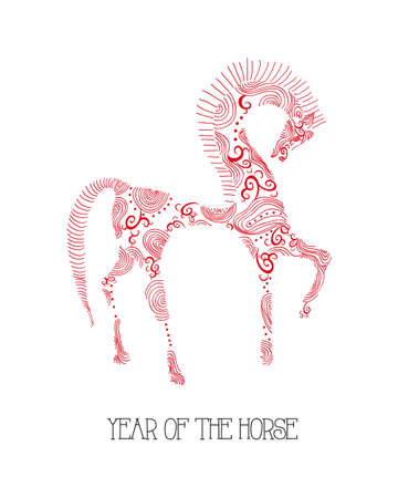 2014 Chinese New Year of the Horse, hand drawn red curl elements animal composition. Vector file organized in layers for easy editing. Stock Vector - 23101999