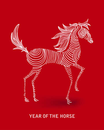 Curl sketch style drawing with red background: 2014 Chinese New Year of the Horse illustration. Vector file organized in layers for easy editing. Vector
