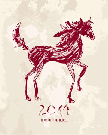 2014 Chinese New Year of the Horse illustration: Sketch style drawing with grunge background. Vector file organized in layers for easy editing. Stock Vector - 23102003