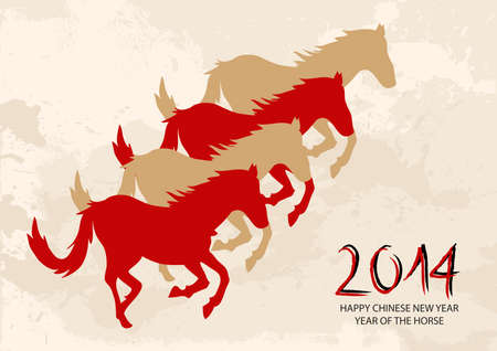 2014 Chinese New Year of the Horse silhouettes with grunge background. Vector file organized in layers for easy editing. Vector