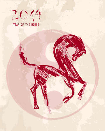 Chinese New Year of the Horse 2014 illustration: Sketch style brush drawing with ying yang grunge background. Vector file organized in layers for easy editing. Vector