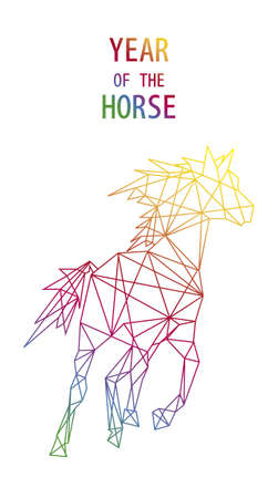 Unusual abstract triangle shape composition: 2014 Chinese New Year of the Horse illustration. Vector file organized in layers for easy editing.  Illustration