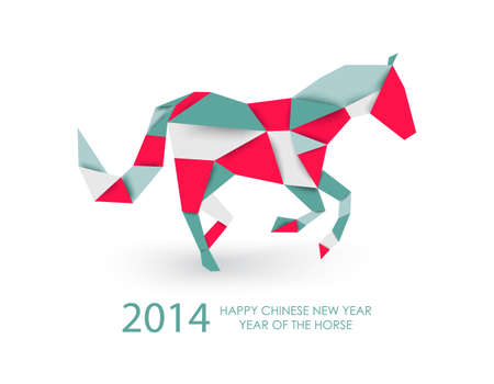 2014 Chinese New Year of the Horse colorful abstract triangle silhouette composition. Vector file organized in layers for easy editing. Illustration