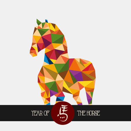 triangle shape: Unusual colorful triangle shape: 2014 Chinese New Year of the Horse illustration. Vector file organized in layers for easy editing.