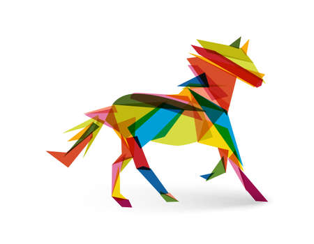 Colorful abstract triangle silhouette composition: 2014 Chinese New Year of the Horse illustration.