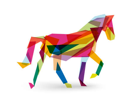 2014 Chinese New Year of the Horse colorful abstract triangle silhouette composition.  Vector