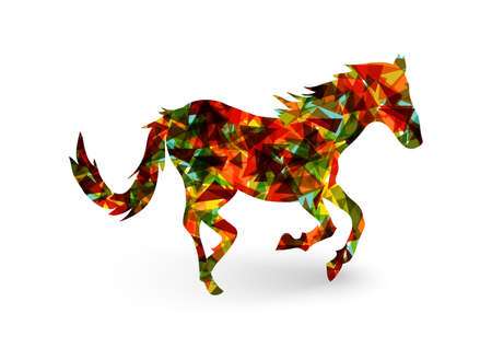 Bunte abstrakte Dreieck Silhouette Zusammensetzung: 2014 Chinese New Year of the Horse Illustration.