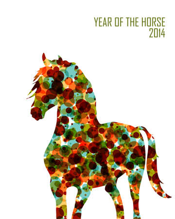 2014 Chinese New Year of the Horse, bubbles made animal silhouette.  Vector