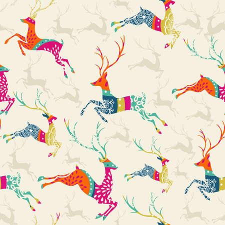retro seamless pattern: Christmas decorations vintage elements reindeer seamless pattern postcard background. Vector file organized in layers for easy editing.