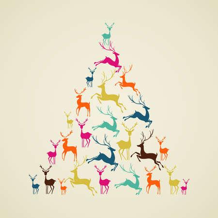 pinetree: Adornos navide�os elementos renos vacaciones ilustraci�n forma pinetree. Vector archivo organizado en capas para facilitar la edici�n.