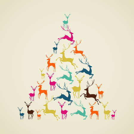 pinetree: Christmas decorations elements reindeer holiday pinetree shape illustration. Vector file organized in layers for easy editing.