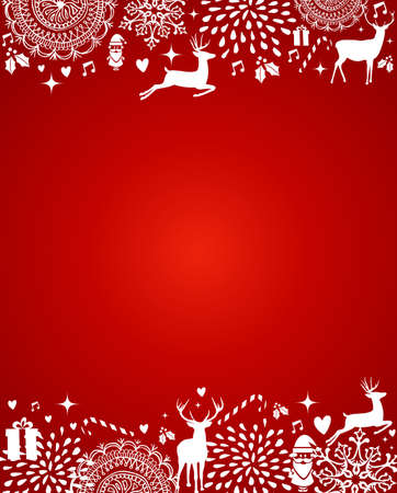 Christmas decorations ornaments elements template red postcard background. Vector file organized in layers for easy editing.