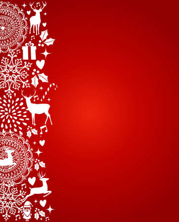 deer in heart: Merry Christmas decoration elements template red postcard background. Vector file organized in layers for easy editing.