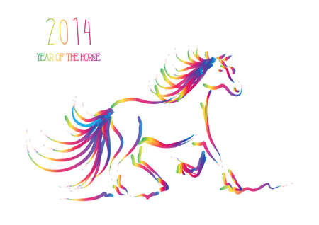 Happy Chinese New Year 2014  Multicolor contemporary running horse isolated over white    Vector