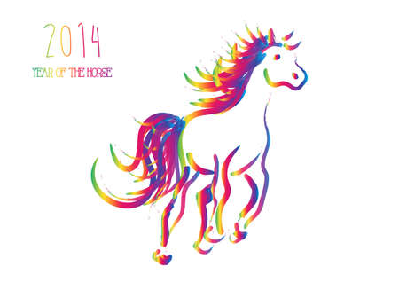 Happy Chinese New Year 2014  Multicolor contemporary running horse isolated over white