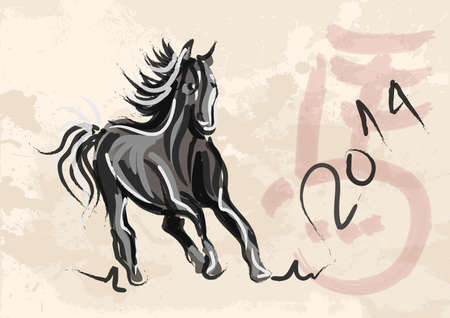 Chinese New Year of horse 2014 ink brush painting over grunge background