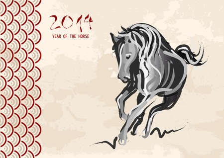 Chinese New Year of horse 2014 ink brush painting over grunge background Stock Vector - 24055976