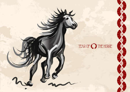 Chinese New Year of horse 2014 ink brush painting over grunge background  Vector