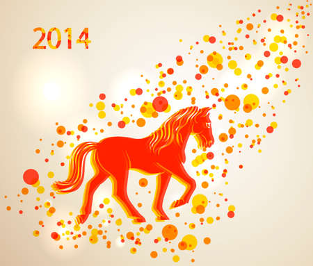 happy newyear: Chinese New Year 2014. Walking red and orange horse over contemporary transparent circle background.