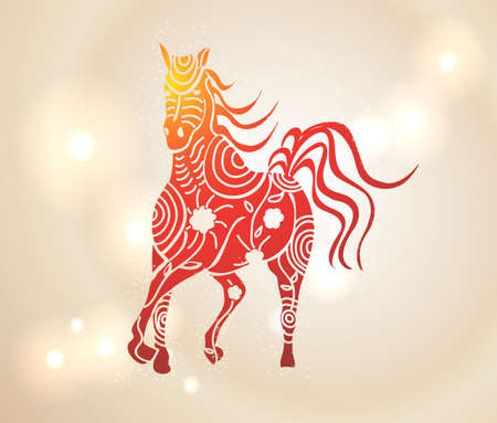 Chinese New Year 2014. Multicolor running horse with tribal flowers design over transparent lights background.  Vector