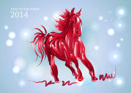 happy newyear: Chinese New Year 2014. Running red horse over contemporary transparent stars and lights background.