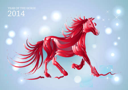 happy newyear: Chinese New Year of horse 2014 contemporary transparent lights background.