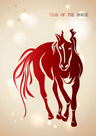 Chinese New Year of horse 2014 contemporary background. Illustration