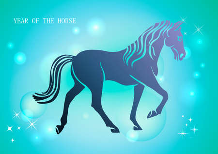 happy newyear: Chinese New Year of horse 2014 stars contemporary background.
