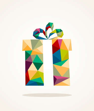 Isolated colorful abstract Christmas gift box triangle composition.