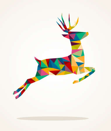 Colorful abstract Christmas jumping reindeer triangle composition isolated.