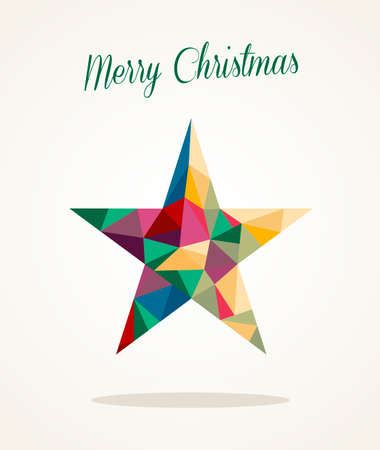 Colorful abstract Merry Christmas star shape triangle composition.  Illustration