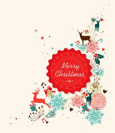 Retro Weihnachtskarte der Zusammensetzung der Wolken. Vektorgrafik