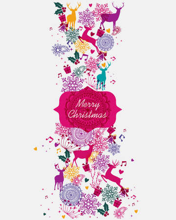 Merry Christmas banner vibrant colors seamless pattern background.