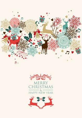 reno de navidad: Tarjeta de Navidad de la vendimia y Feliz A�o Nuevo de fondo de fisuras. Vectores