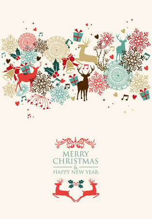 a holiday greeting: Vintage Christmas card and Happy New Year seamless pattern background.