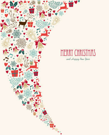 Vintage Christmas card celebration multicolor holidays elements background.   Vector