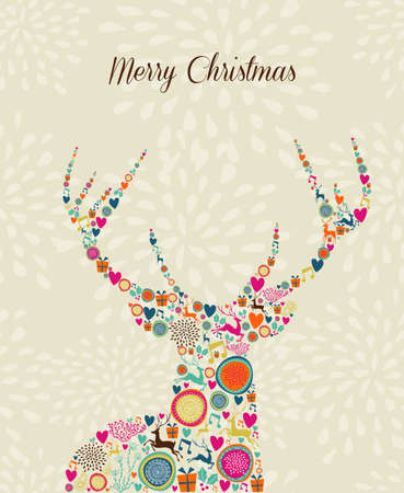 christmas elements: Vintage Christmas elements in reindeer shape over seamless pattern greeting card.