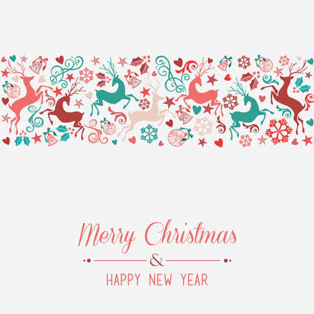 happy new year banner: Merry Christmas and Happy New Year banner greeting card background.