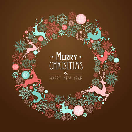 Merry Christmas and Happy New Year wreath shape greeting card background.   Vector