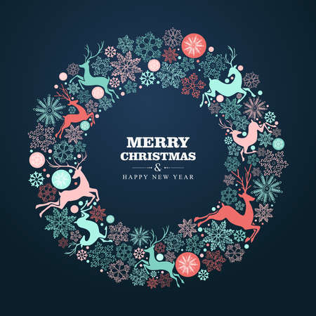 Merry Christmas and Happy New Year wreath shape greeting card background  Vector
